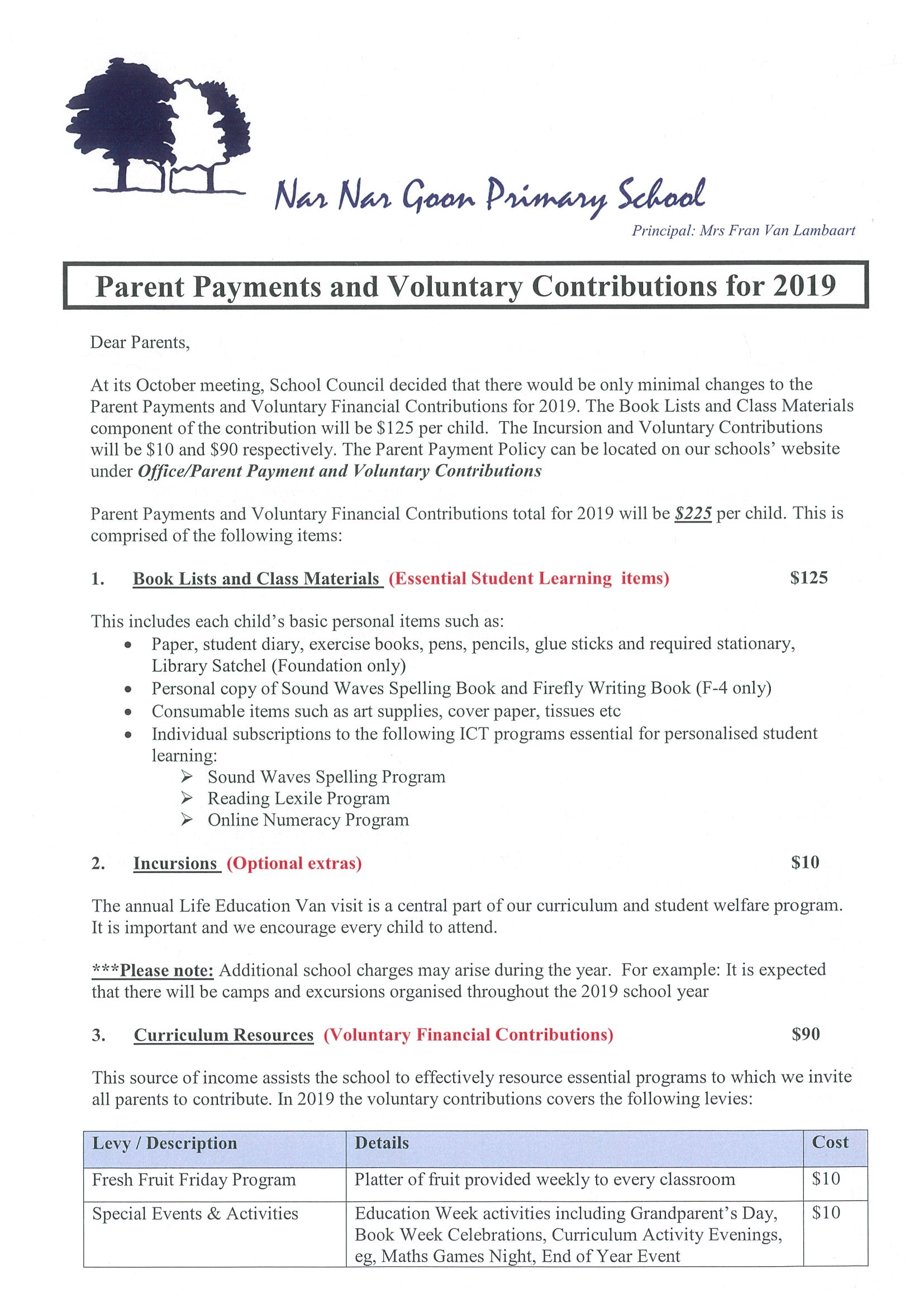 2019 Parent Payment & Voluntary Contributions